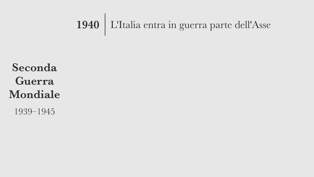 1940 Seconda Guerra Mondiale 1939–1945 L'Italia...