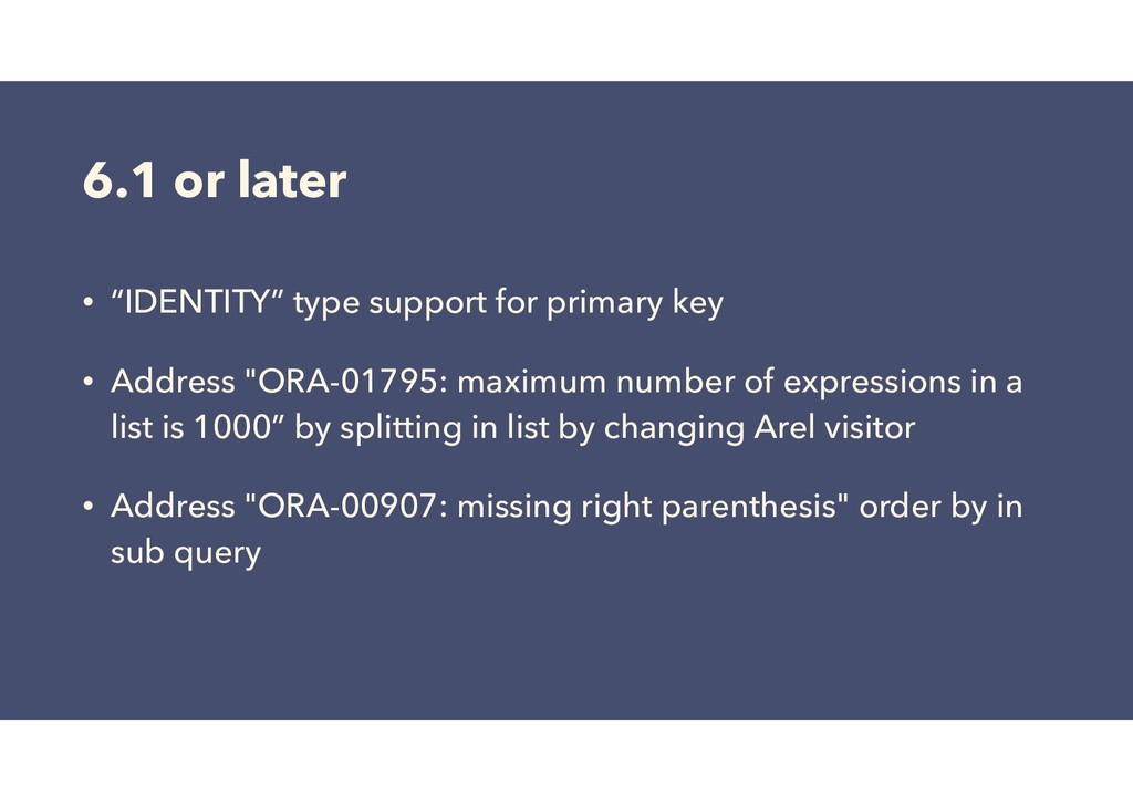 """6.1 or later • """"IDENTITY"""" type support for prim..."""