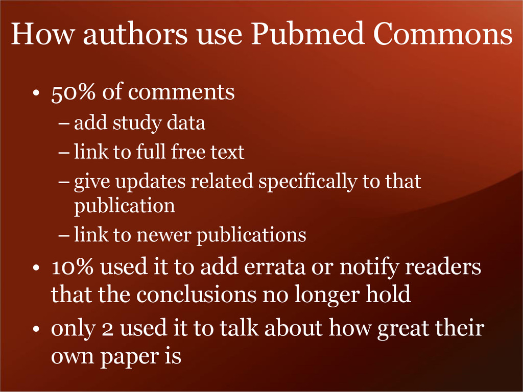 • 50% of comments – add study data – link to fu...