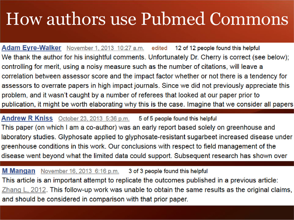 How authors use Pubmed Commons