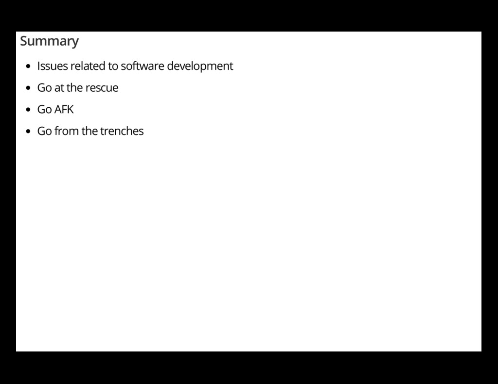 Summary Issues related to software development ...