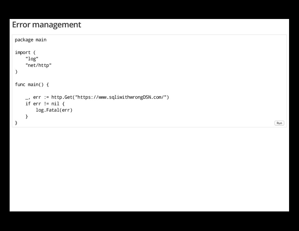 "Error management package main import ( ""log"" ""n..."