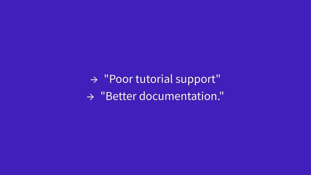 """→ """"Poor tutorial support"""" → """"Better documentati..."""