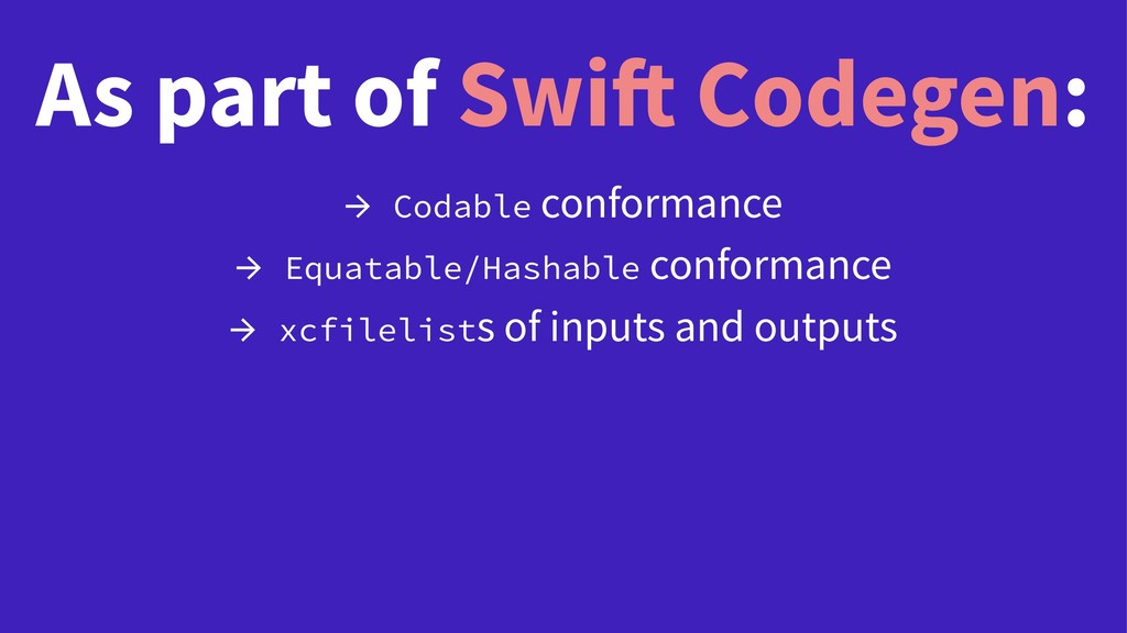 As part of Swift Codegen: → Codable conformance...