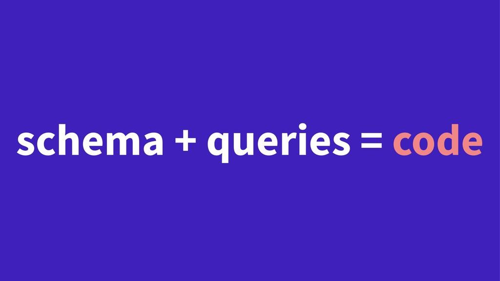 schema + queries = code