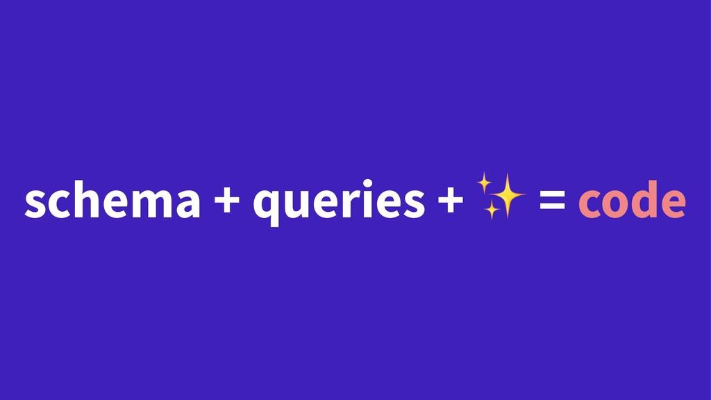 schema + queries + = code