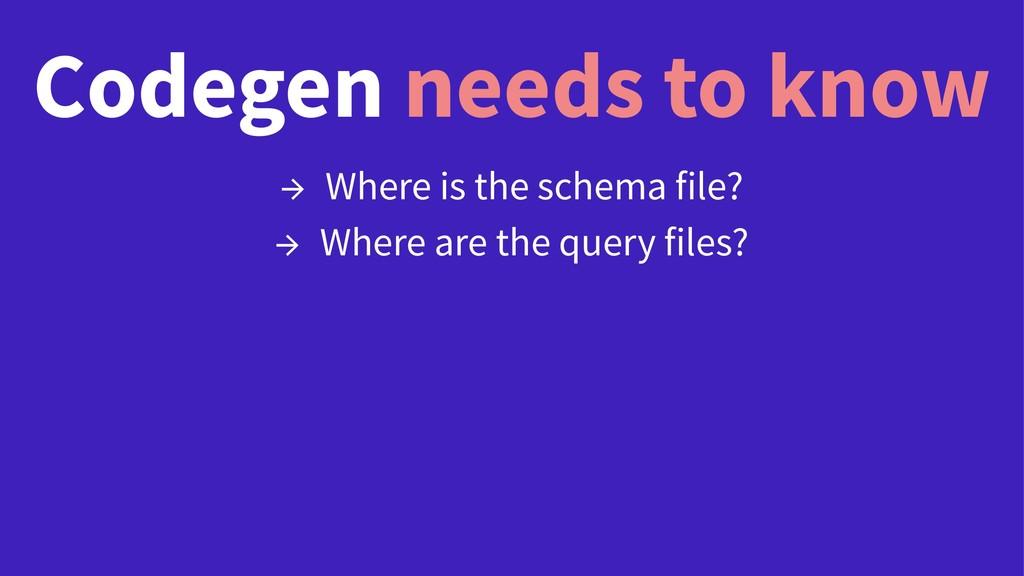 Codegen needs to know → Where is the schema fil...