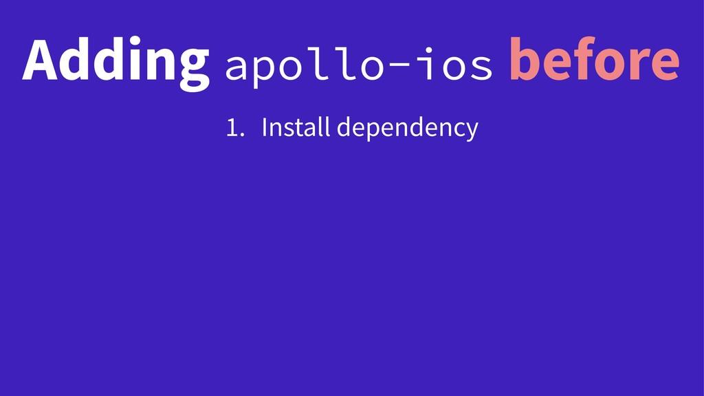 Adding apollo-ios before 1. Install dependency