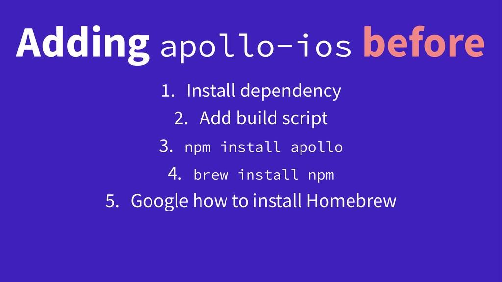 Adding apollo-ios before 1. Install dependency ...