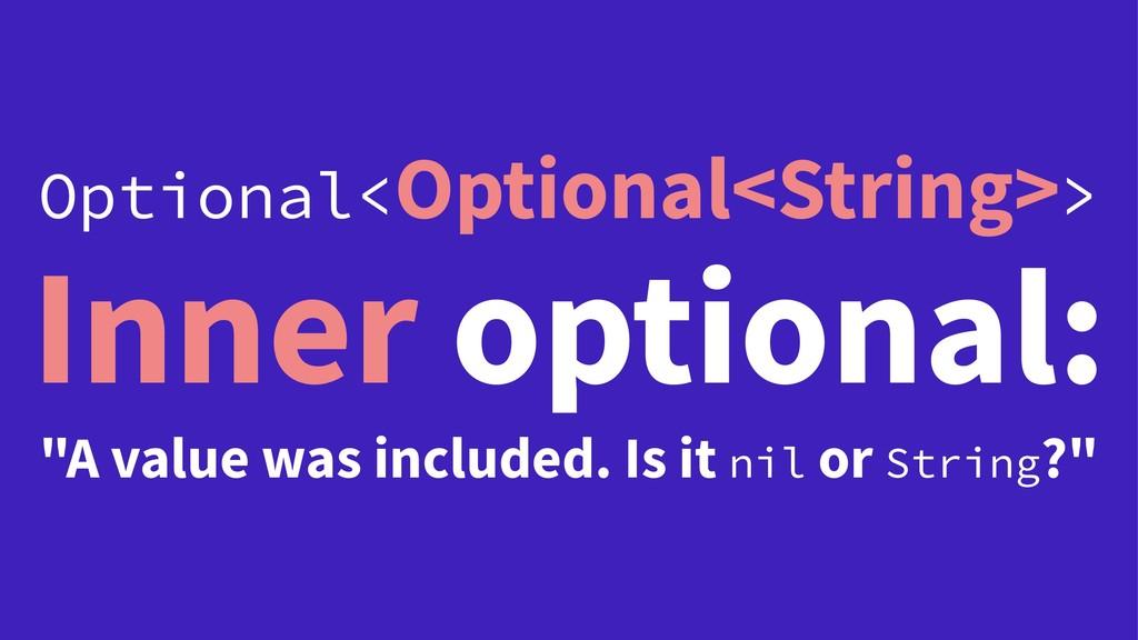 """Optional<Optional<String>> Inner optional: """"A v..."""