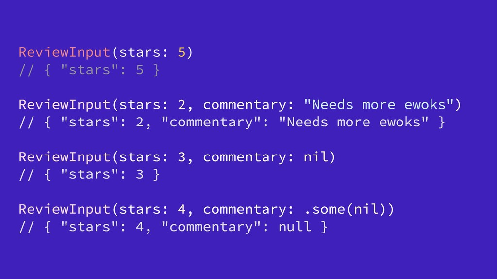 "ReviewInput(stars: 5) // { ""stars"": 5 } ReviewI..."