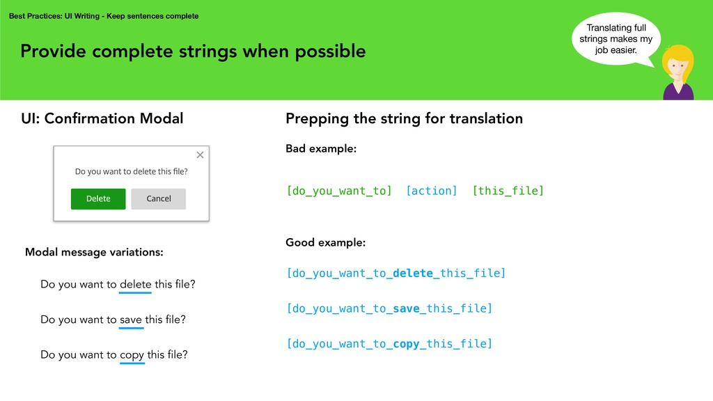 Provide complete strings when possible Best Pra...