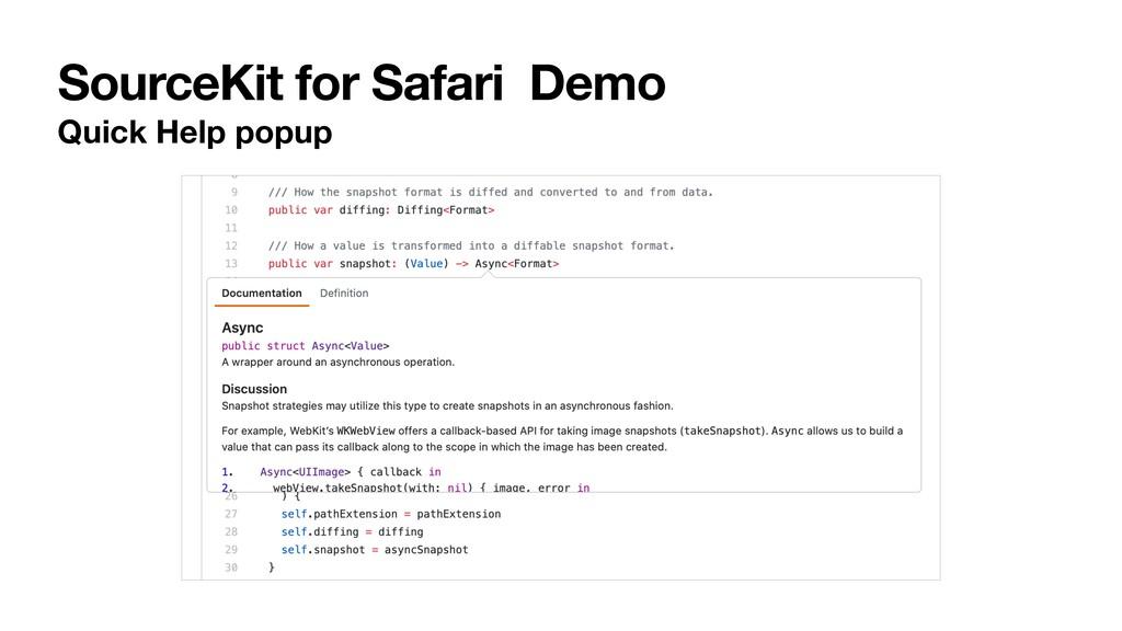 SourceKit for Safari Demo Quick Help popup