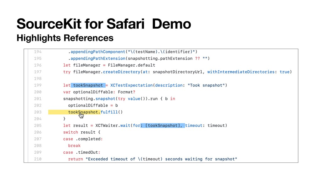 SourceKit for Safari Demo Highlights References