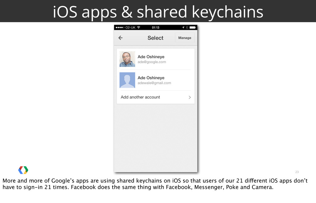 23 iOS apps & shared keychains More and more of...
