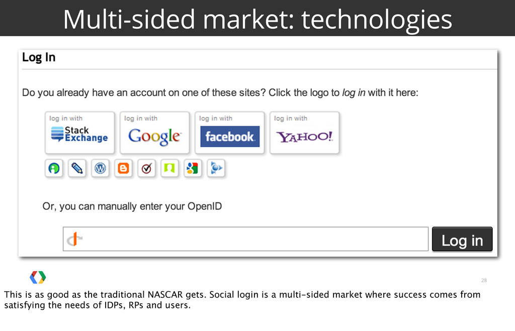 28 Multi-sided market: technologies This is as ...