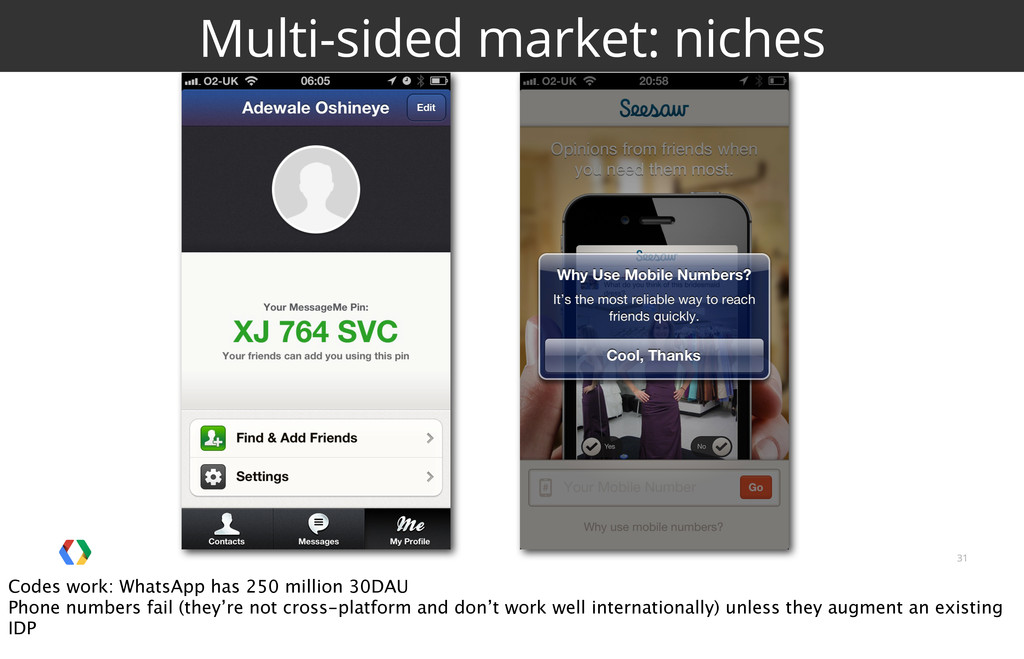 31 Multi-sided market: niches Codes work: Whats...