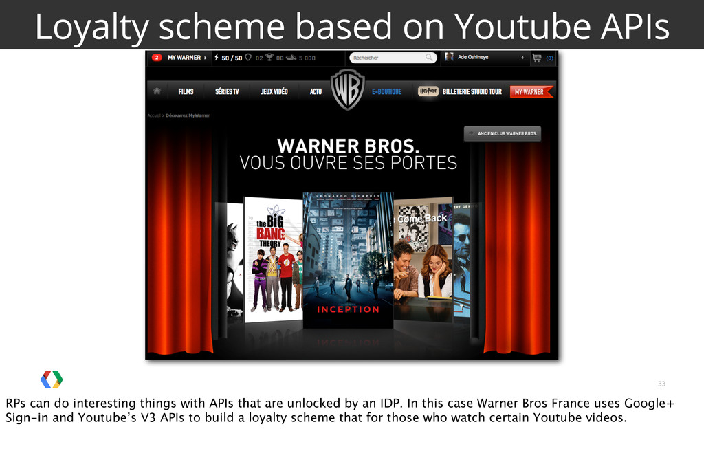 33 Loyalty scheme based on Youtube APIs RPs can...