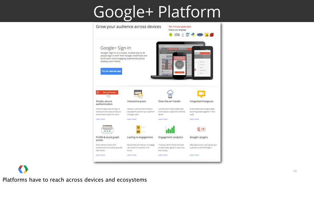 40 Google+ Platform Platforms have to reach acr...