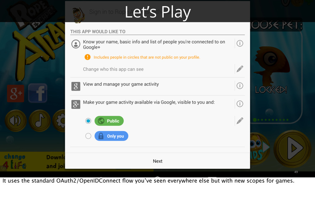 49 Let's Play It uses the standard OAuth2/OpenI...