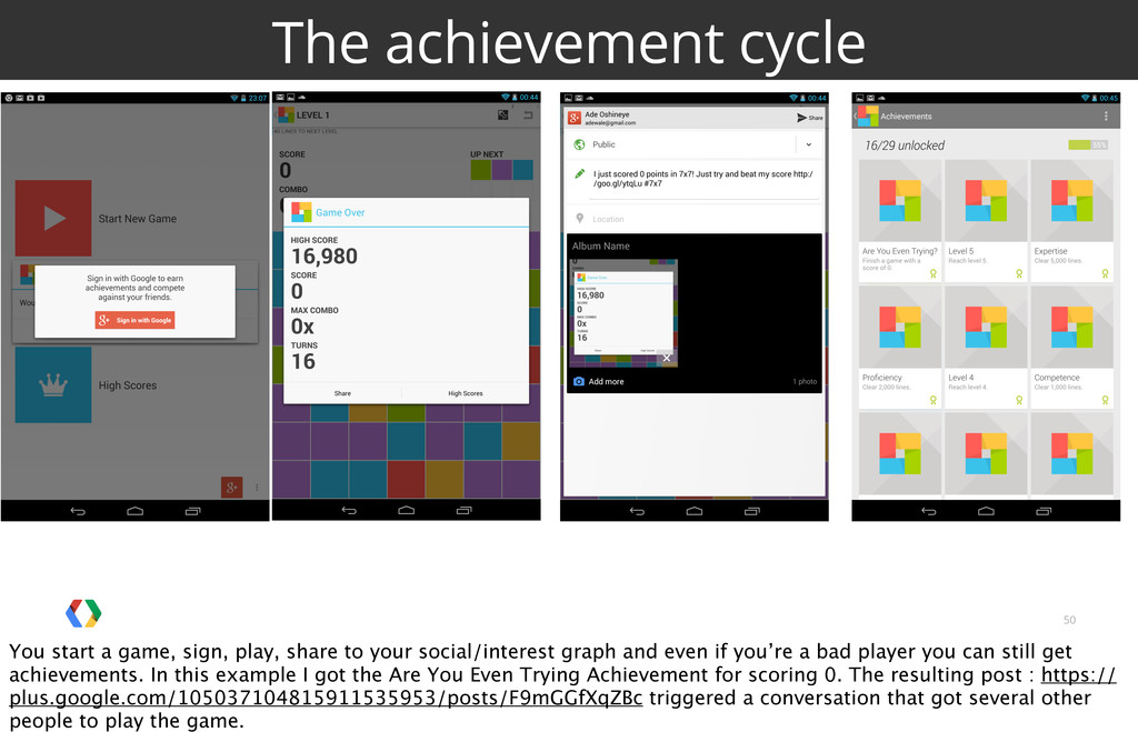 50 The achievement cycle You start a game, sign...