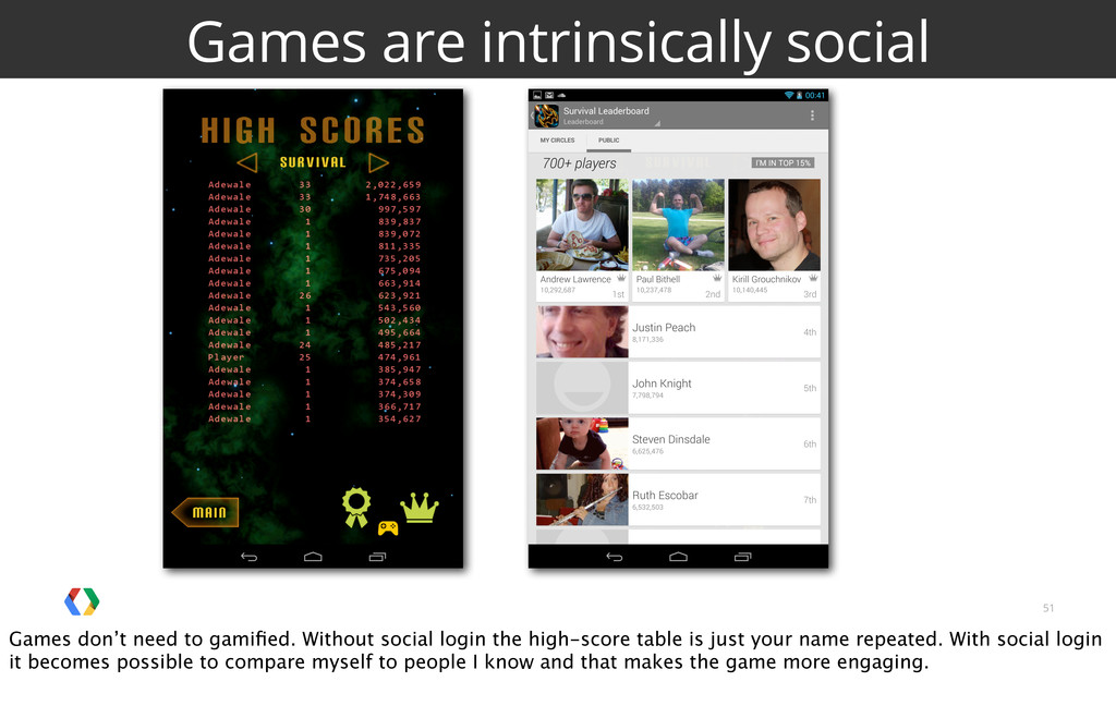 51 Games are intrinsically social Games don't n...