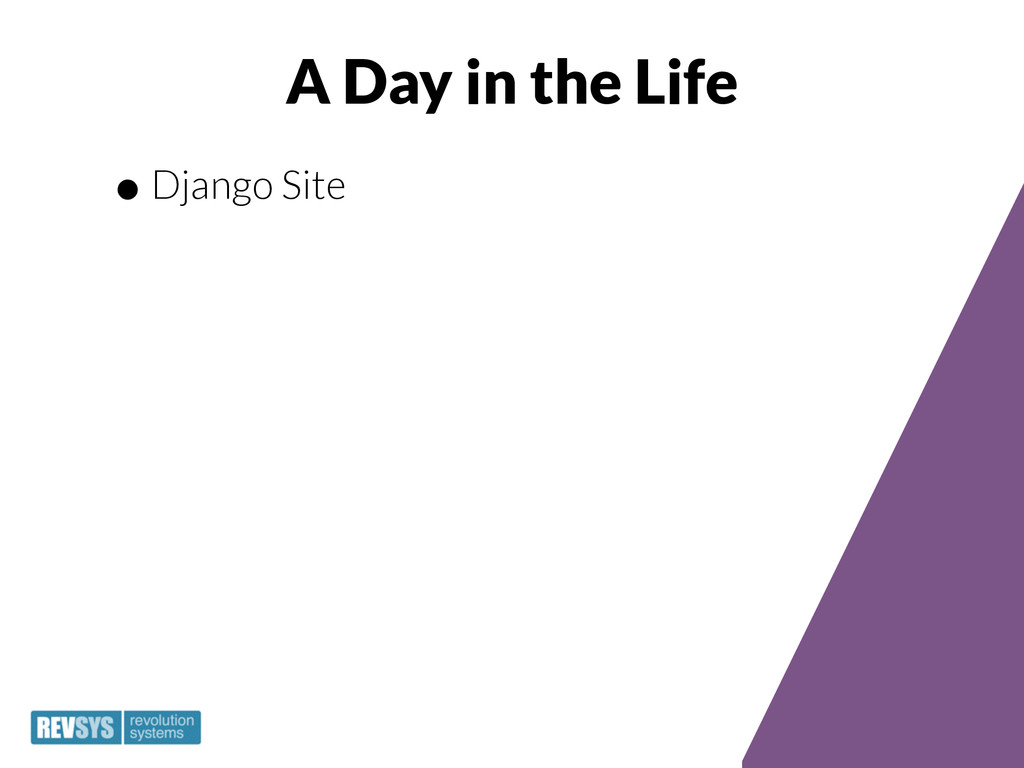 A Day in the Life •Django Site