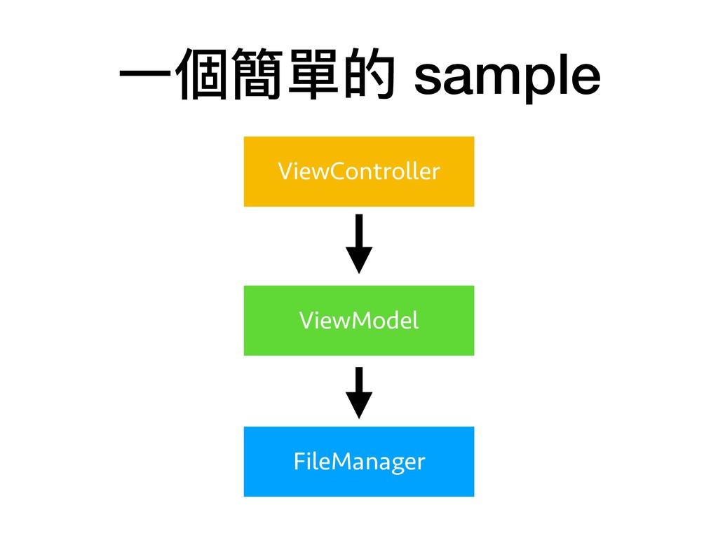 ⼀一個簡單的 sample ViewController ViewModel FileMana...