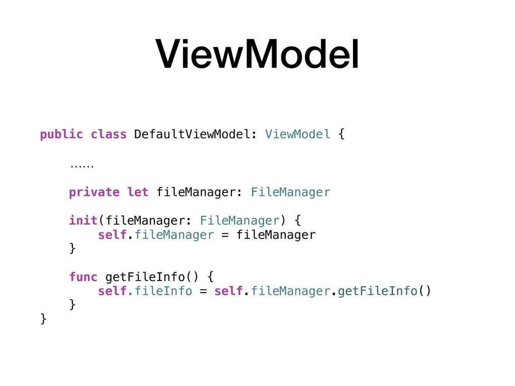 ViewModel public class DefaultViewModel: ViewMo...