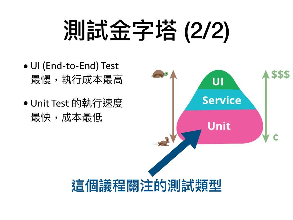測試⾦金金字塔 (2/2) •UI (End-to-End) Test  最慢,執⾏行行成本...