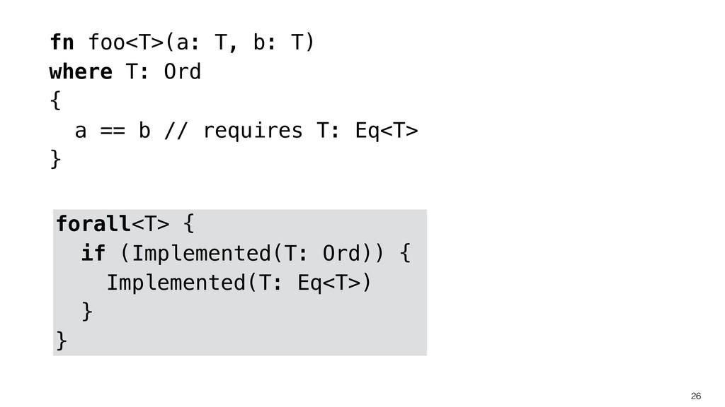 26 fn foo<T>(a: T, b: T) where T: Ord { a == b ...