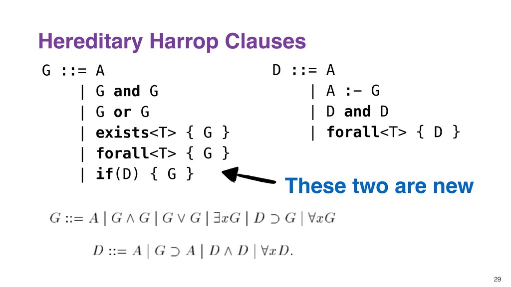 29 Hereditary Harrop Clauses G ::= A | G and G ...