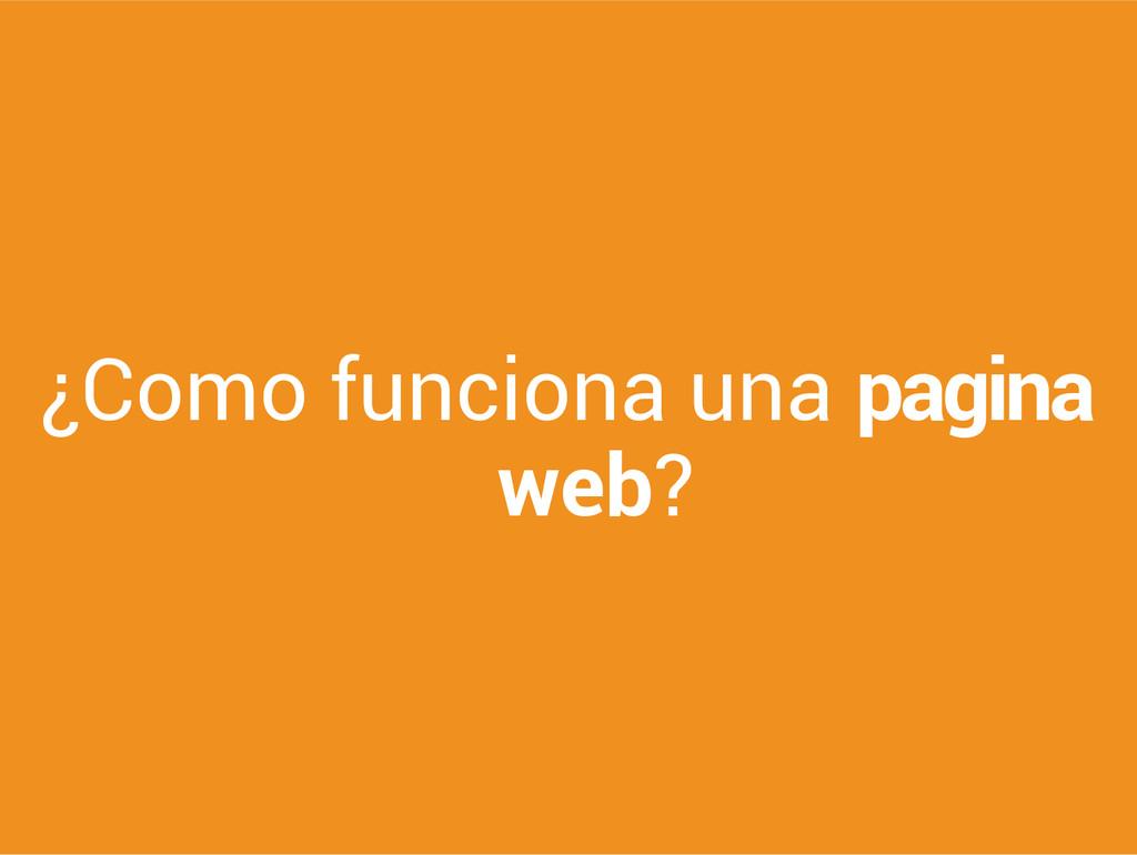 ¿Como funciona una pagina web?