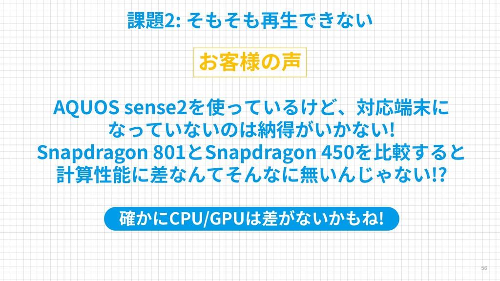 56 課題2: そもそも再生できない お客様の声 AQUOS sense2を使っているけど、対...