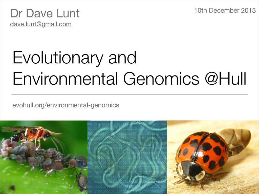 Evolutionary and Environmental Genomics @Hull e...