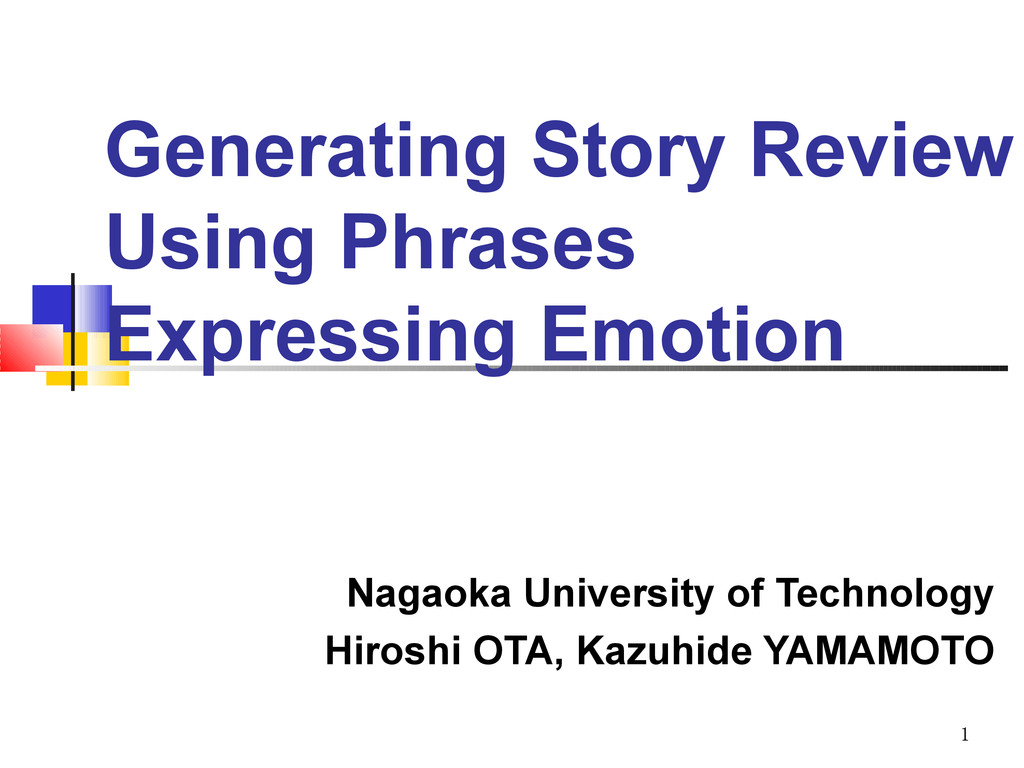 1 Generating Story Review Using Phrases Express...