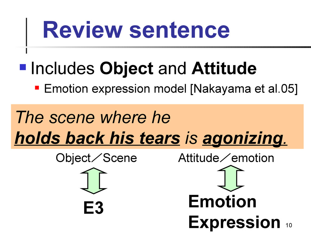 10 Review sentence  Includes Object and Attitu...