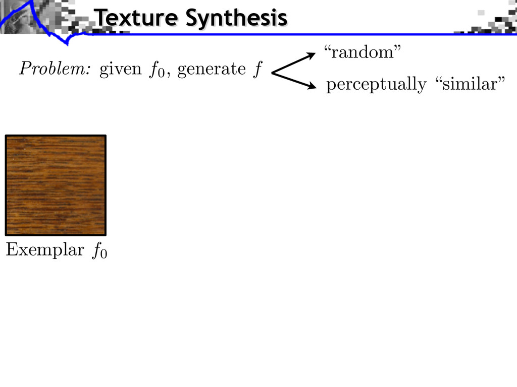 Exemplar f0 Texture Synthesis Problem: given f0...