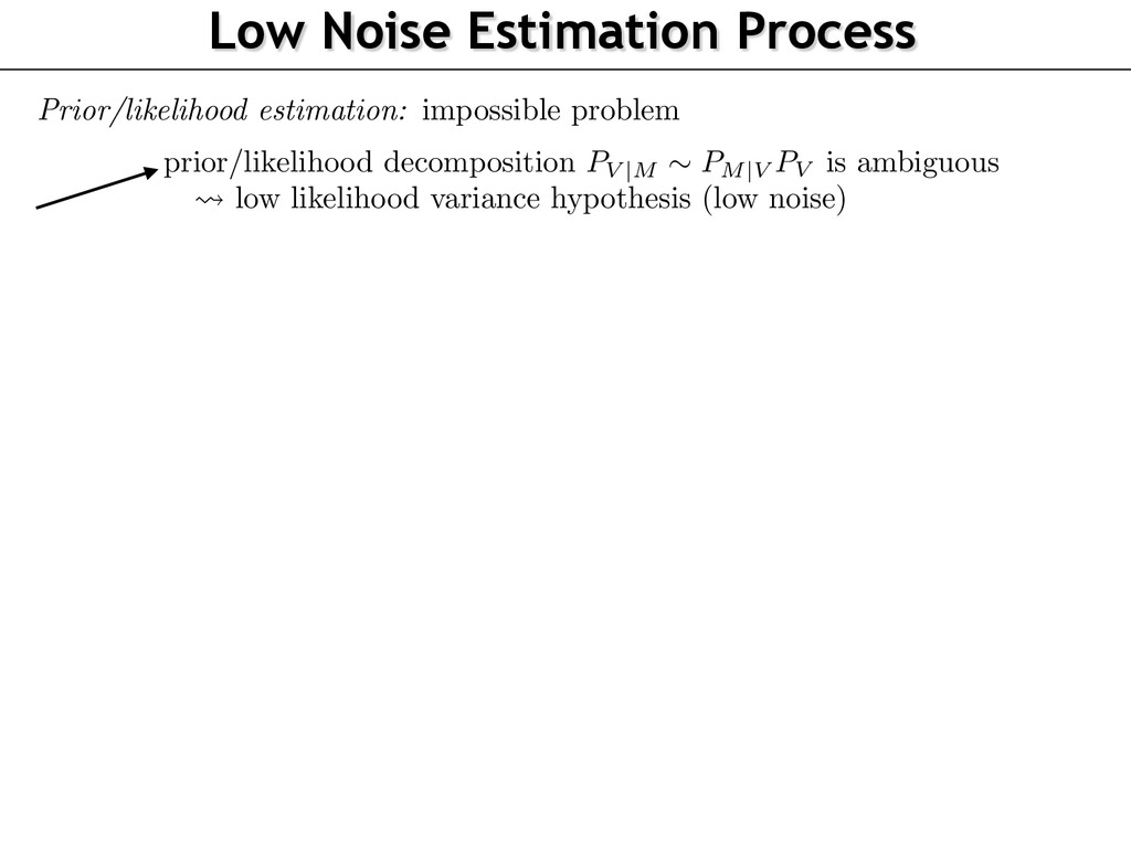 Low Noise Estimation Process Prior/likelihood e...