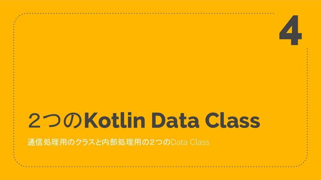 2つのKotlin Data Class 通信処理用のクラスと内部処理用の2つのData Cl...