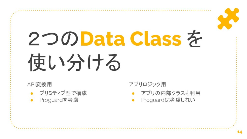 API変換用 ● プリミティブ型で構成 ● Proguardを考慮 2つのData Class...