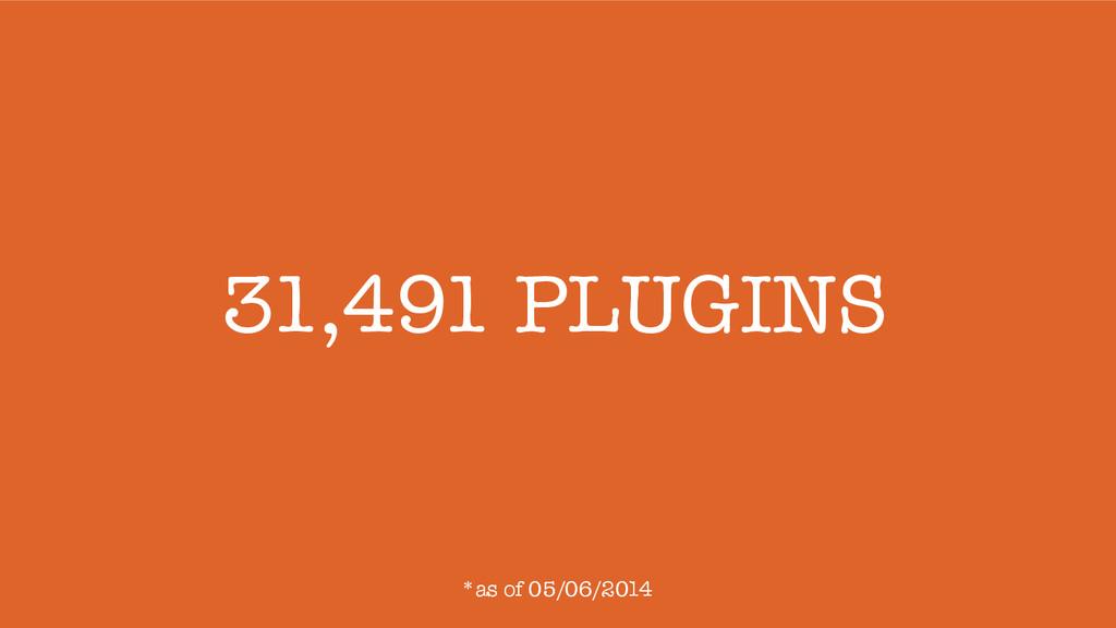 31,491 PLUGINS *as of 05/06/2014