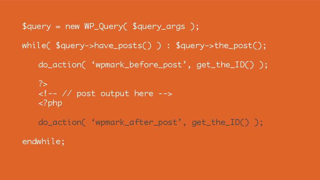 $query = new WP_Query( $query_args ); while( $q...