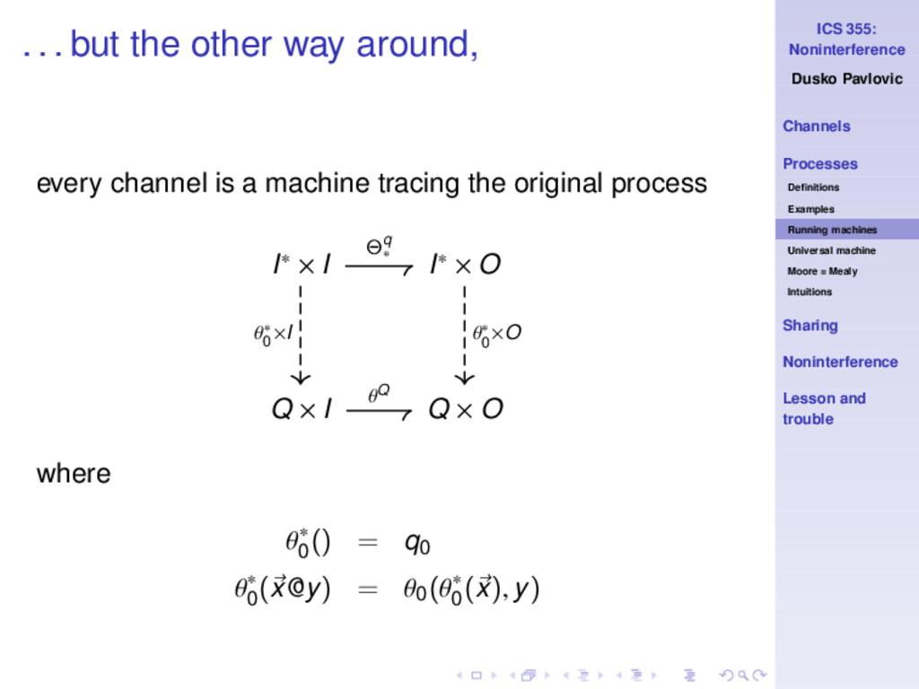 ICS 355: Noninterference Dusko Pavlovic Channel...