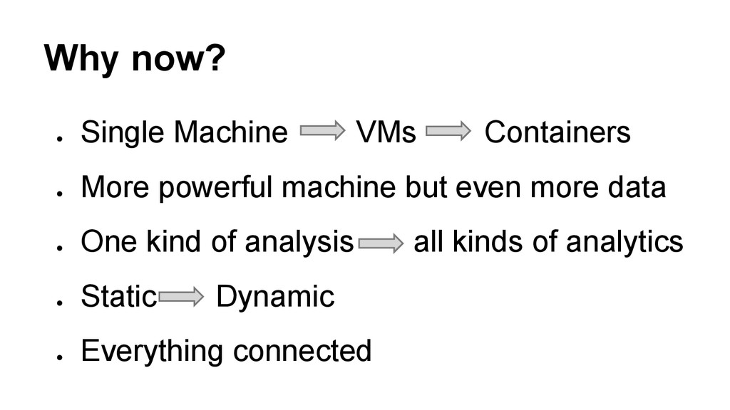 Why now? ● Single Machine VMs Containers ● Mo...