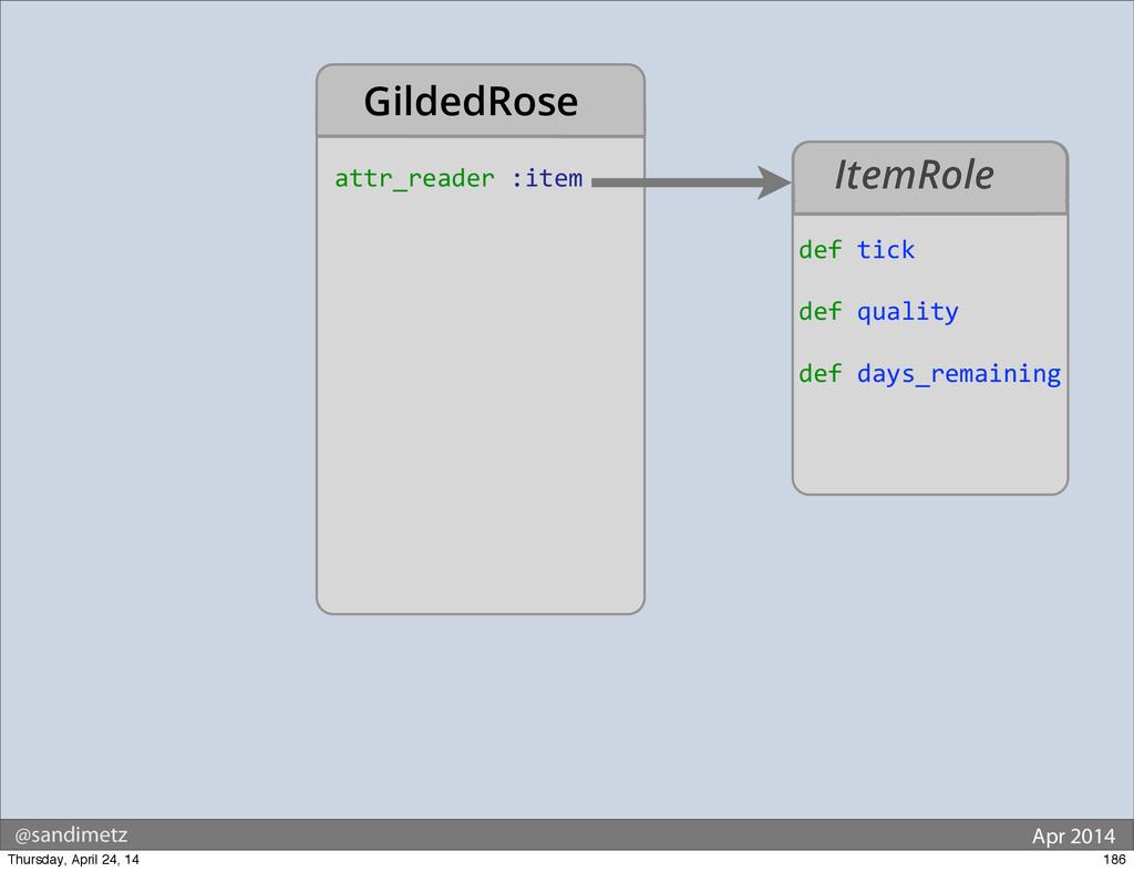 @sandimetz Apr 2014 attr_reader :item Gilded...