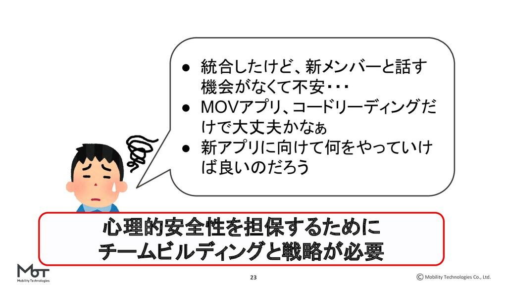 Mobility Technologies Co., Ltd. 23 ● 統合したけど、新メン...