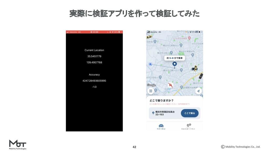 Mobility Technologies Co., Ltd. 42 実際に検証アプリを作って...