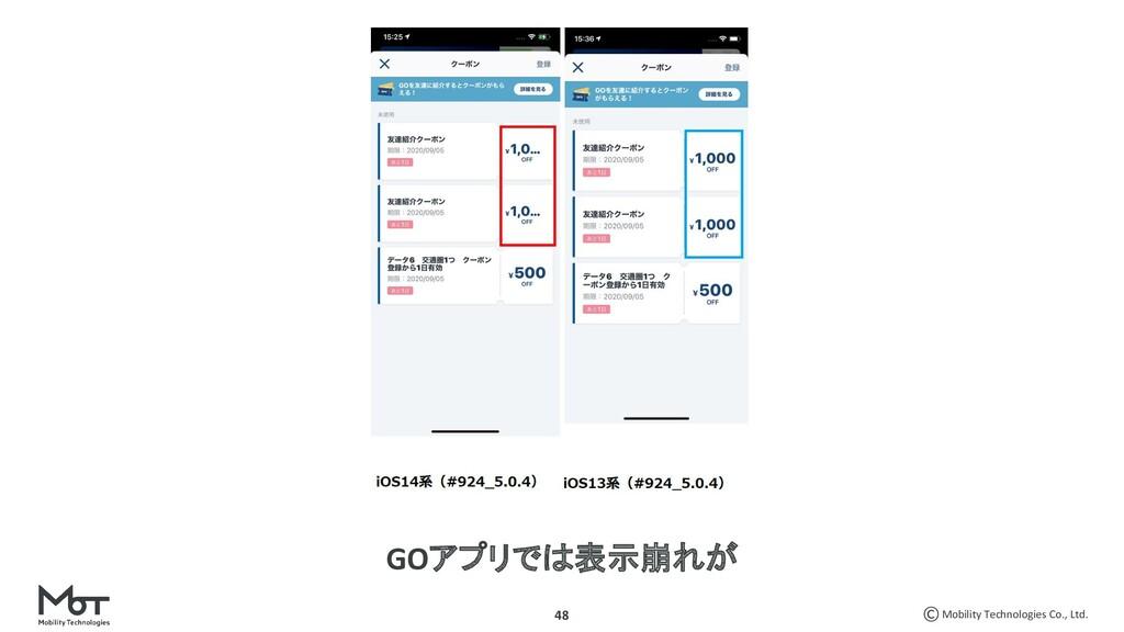 Mobility Technologies Co., Ltd. 48 GOアプリでは表示崩れが