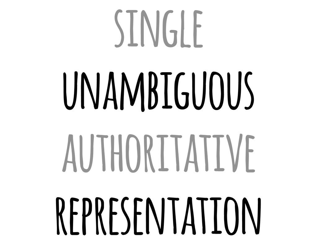 single unambiguous authoritative representation